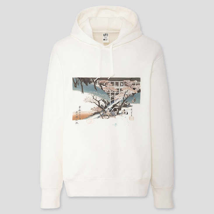 Edo Ukiyo-E Utagawa Hiroshige Long-Sleeve Sweatshirt, Off White, Large