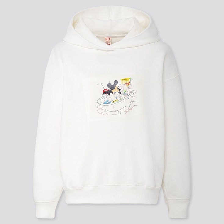 Women Disney Stories Long-Sleeve Hooded Sweatshirt, Off White, Large