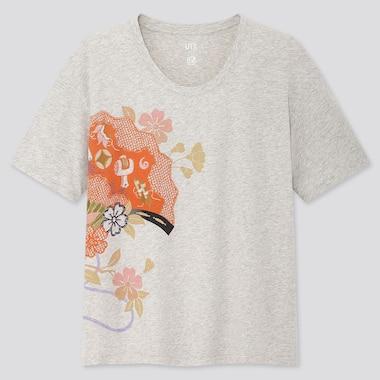Women The Tale Of Genji Ut (Short-Sleeve Graphic T-Shirt), Light Gray, Medium