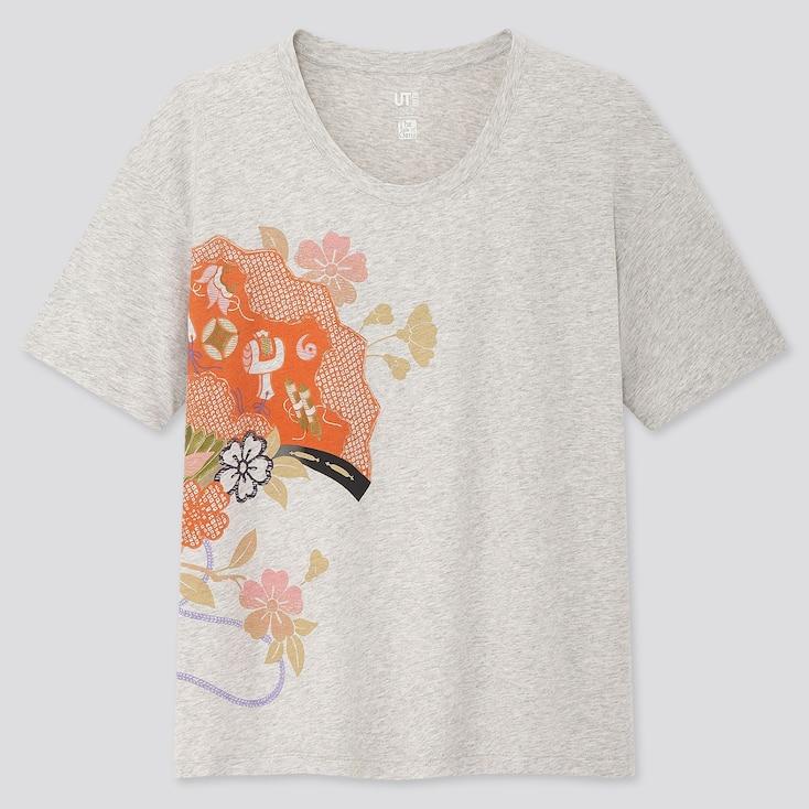 Women The Tale Of Genji Ut (Short-Sleeve Graphic T-Shirt), Light Gray, Large