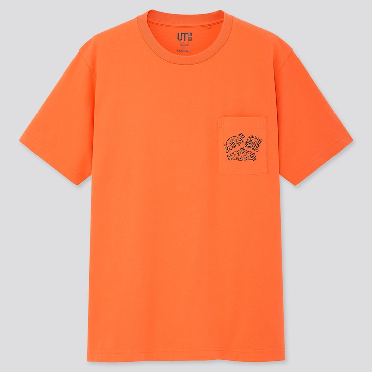Crossing Lines Ut Keith Haring (Short-Sleeve Graphic T-Shirt), Orange, Large