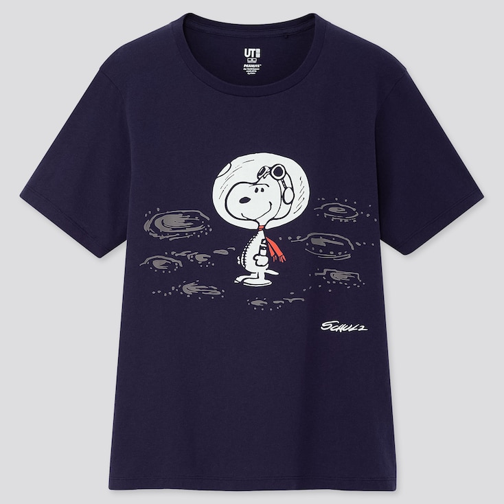 Women Peanuts 70 Ut (Short-Sleeve Graphic T-Shirt), Navy, Large