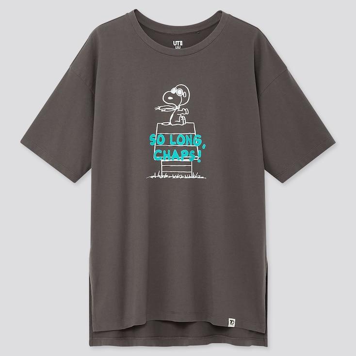 Women Peanuts 70 Ut (Short-Sleeve Oversized T-Shirt), Gray, Large