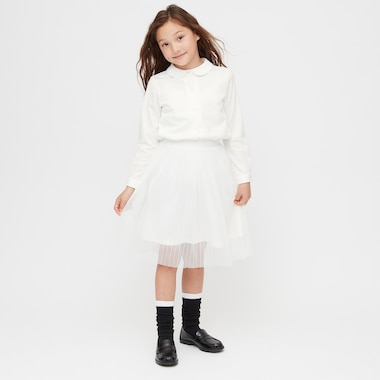 Girls Tulle Skirt, Off White, Medium