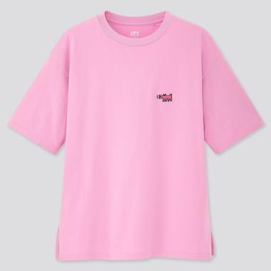 Women Crossing Lines Ut Keith Haring (Short-Sleeve Graphic T-Shirt), Pink, Medium
