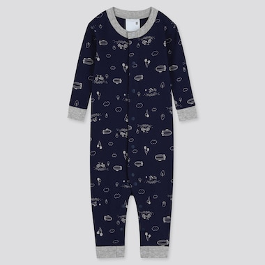 Newborn Long-Sleeve One-Piece Outfit, Navy, Medium