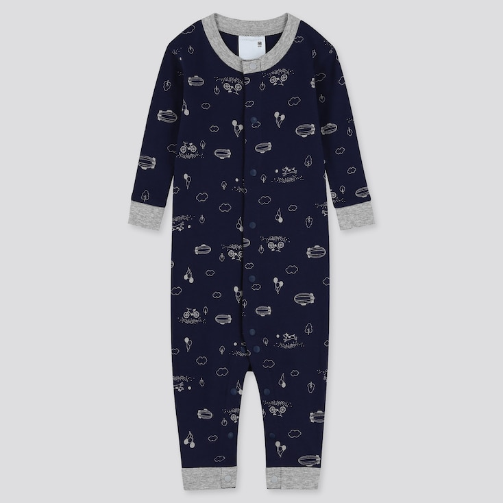 Newborn Long-Sleeve One Piece Outfit, Navy, Large