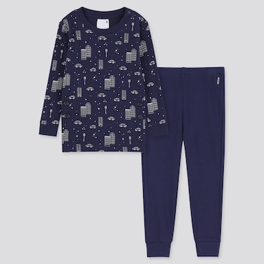 Toddler Cotton Inner Long-Sleeve Pajamas, Navy, Medium