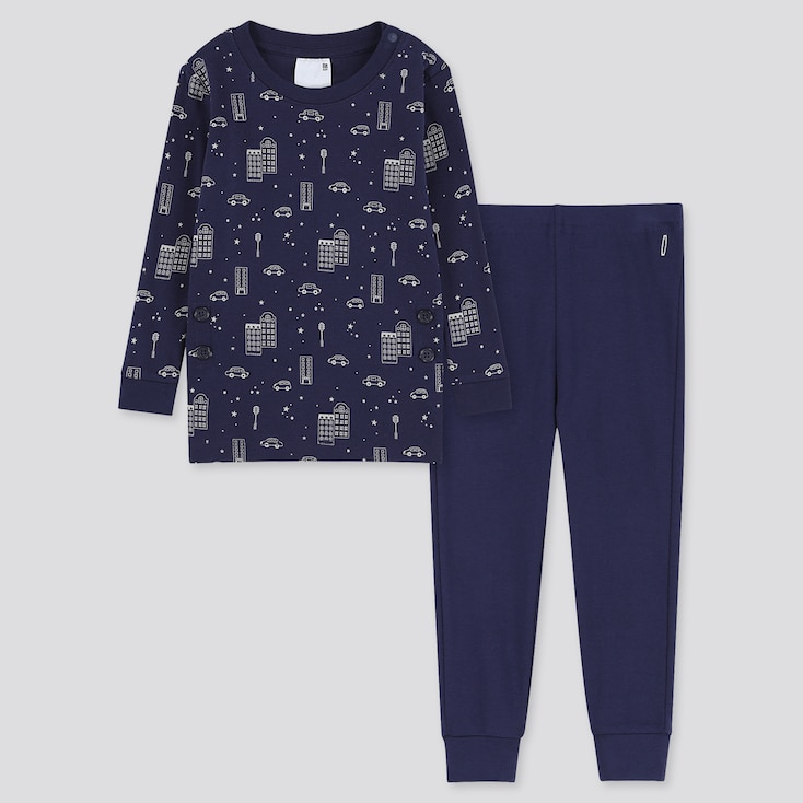 Toddler Cotton Inner Long-Sleeve Pajamas, Navy, Large