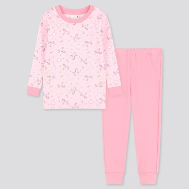 Toddler Cotton Inner Long-Sleeve Pajamas, Pink, Medium