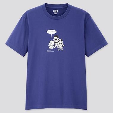 Manga Ut The Genius Bakabon (Short-Sleeve Graphic T-Shirt), Blue, Medium