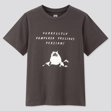 Women Cats Are Purrfect Ut Marie Ahfeldt (Short-Sleeve Graphic T-Shirt), Gray, Medium