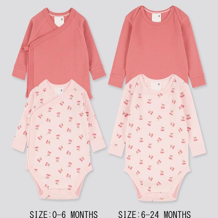 Newborn Crew Neck Long-Sleeve Bodysuit (Set Of 2), Pink, Large