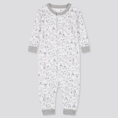 Baby Joy Of Print One Piece Outfit Long-Sleeve, White, Medium