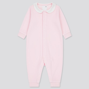 Newborn Airism Pile Long-Sleeve One-Piece Outfit, Pink, Medium