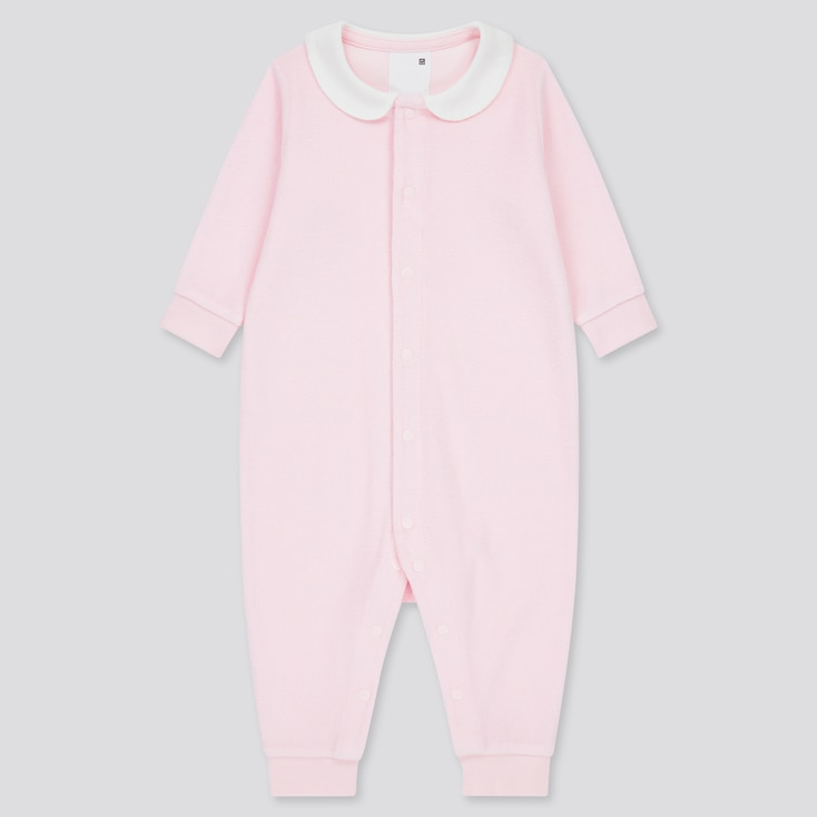 Newborn Airism Pile Long-Sleeve One-Piece Outfit, Pink, Large