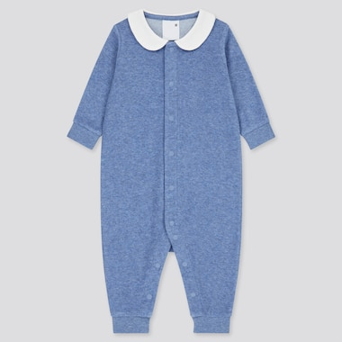 Newborn Airism Pile Long-Sleeve One-Piece Outfit, Blue, Medium