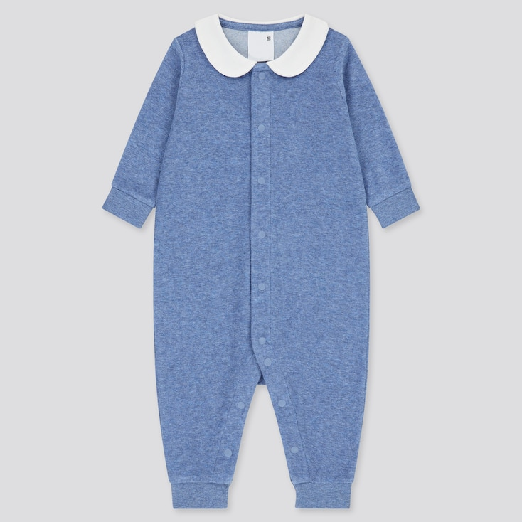 Newborn Airism Pile Long-Sleeve One-Piece Outfit, Blue, Large
