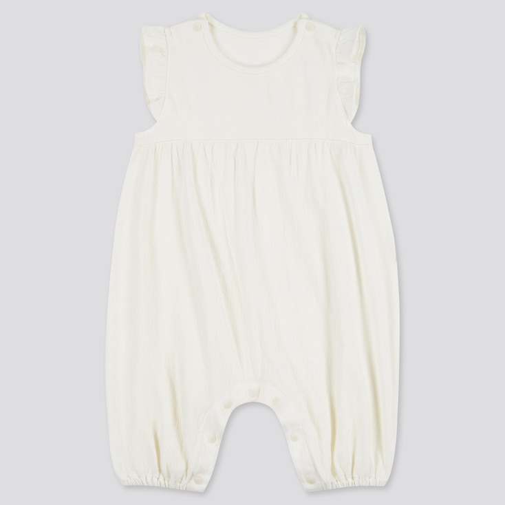 Newborn Frilled Sleeveless One-Piece Outfit, Off White, Large