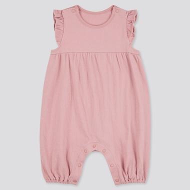 Newborn Frilled Sleeveless One-Piece Outfit, Pink, Medium
