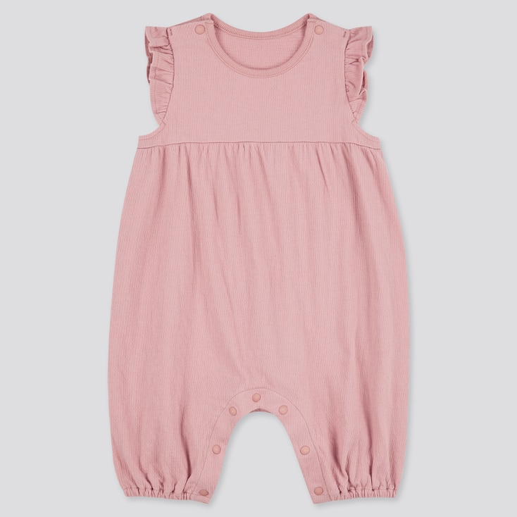 Newborn Frilled Sleeveless One-Piece Outfit, Pink, Large