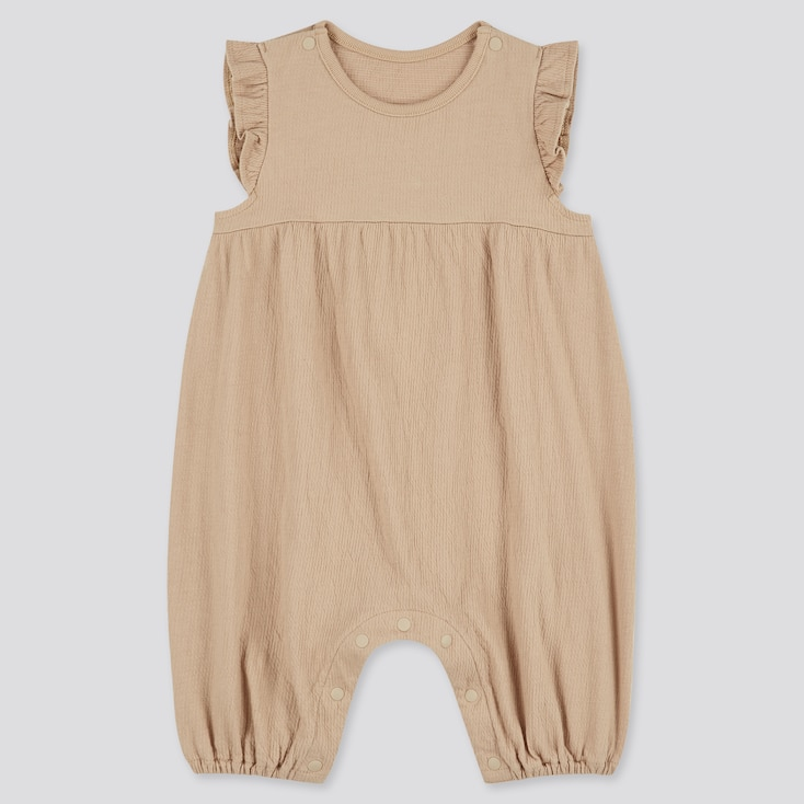 Newborn Frilled Sleeveless One-Piece Outfit, Beige, Large