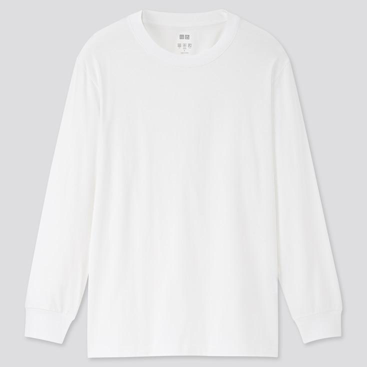 Airism Uv Protection Crew Neck Long-Sleeve T-Shirt, White, Large