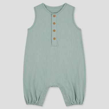 Newborn Front-Button Sleeveless One-Piece Outfit, Green, Medium