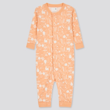 Newborn Joy Of Print One-Piece Long-Sleeve Outfit, Light Orange, Medium