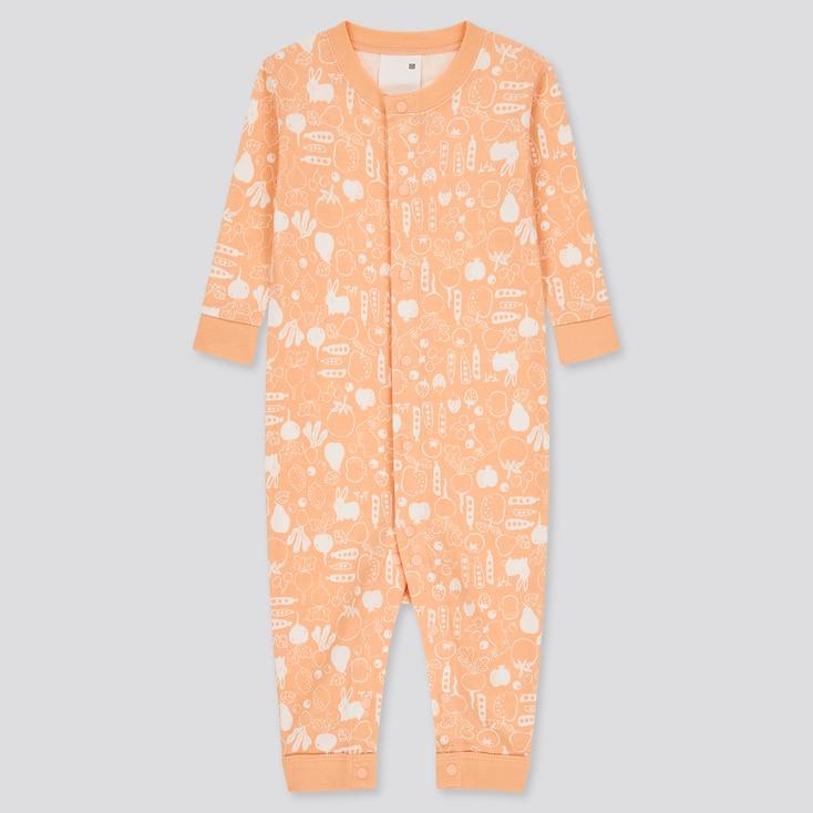 Newborn Joy Of Print One-Piece Long-Sleeve Outfit, Light Orange, Large