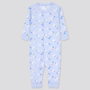 Baby Joy Of Print Long-Sleeve One-Piece Outfit, Light Blue, Medium