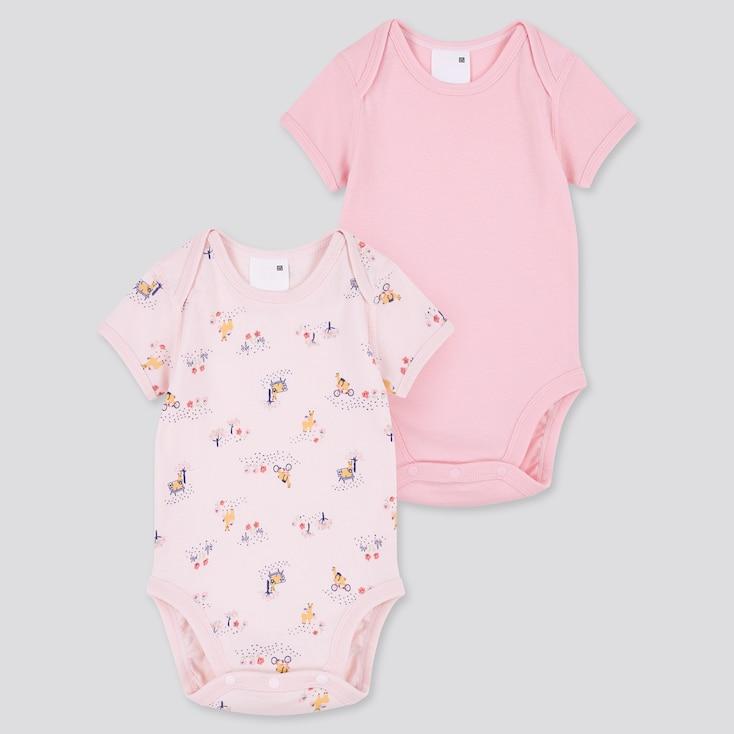 Newborn Joy Of Print Short-Sleeve Bodysuit (Set Of 2), Pink, Large