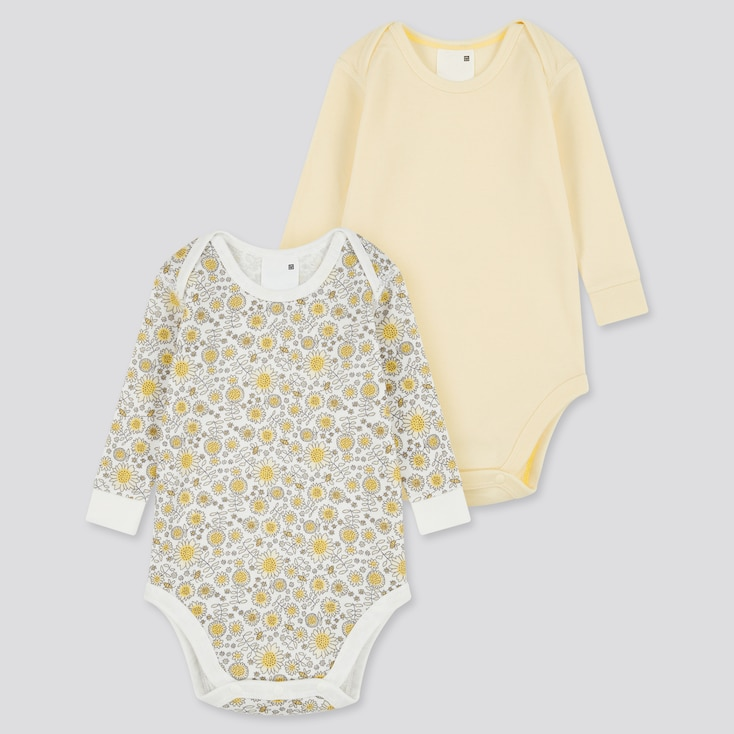 Newborn Joy Of Print Long-Sleeve Bodysuit (Set Of 2), Yellow, Large