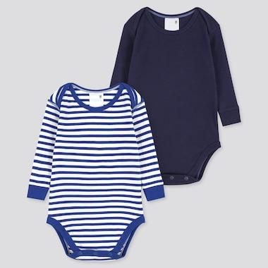 Newborn Crew Neck Long-Sleeve Bodysuit (Set Of 2), Blue, Medium