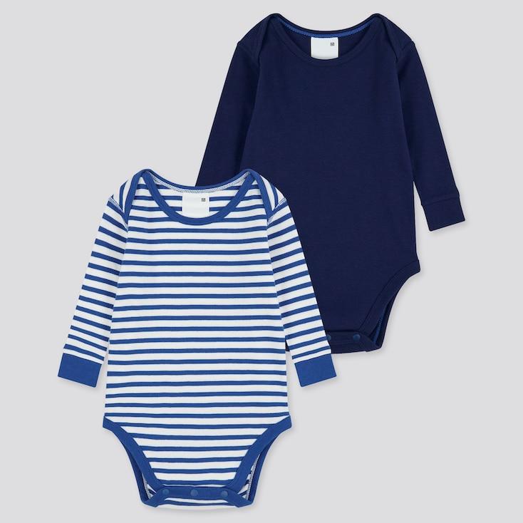 Newborn Crew Neck Long-Sleeve Bodysuit (Set Of 2), Blue, Large