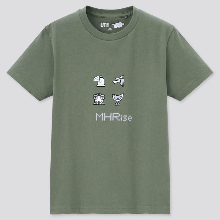 Kids Monster Hunter Rise Ut (Short-Sleeve Graphic T-Shirt), Green, Large