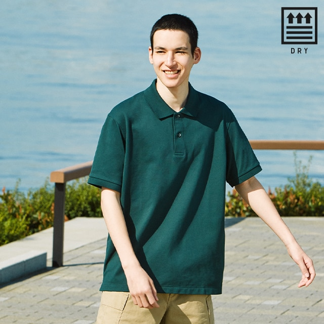 dry pique short-sleeve polo shirt