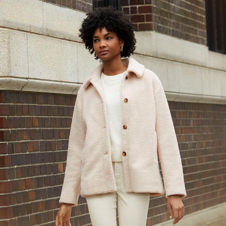 Pile-Lined Fleece Single-Breasted Short Coat image 1