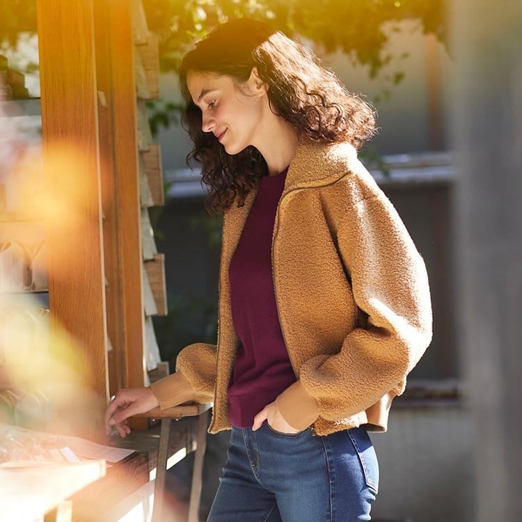 Pile-Lined Fleece Cropped Long Sleeve Jacket image 1