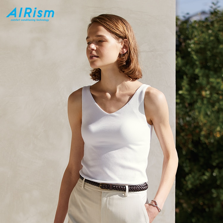 AIRism-Cotton Ribbed V-Neck Sleeveless Bra Top image 1