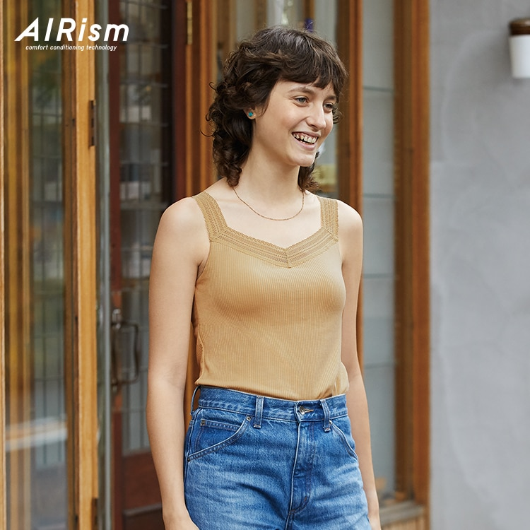 AIRism-Cotton Ribbed Lace Bra Top image 1