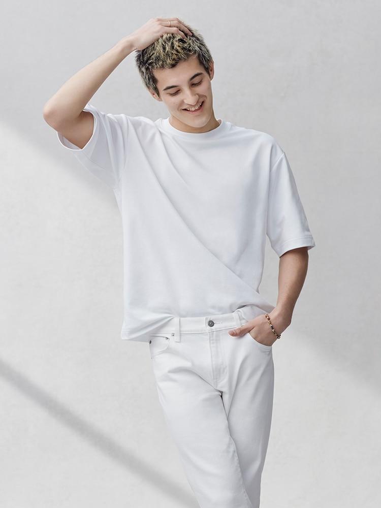 Men's U AIRism Cotton Oversized Crew Neck Half-Sleeve T-Shirt image 1