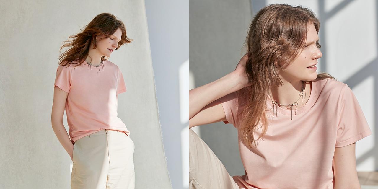 Women Supima© Cotton Crew Neck Short-Sleeve T-Shirt                 image 1