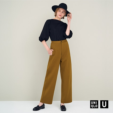 WIDE-FIT CURVED JERSEY PANTS
