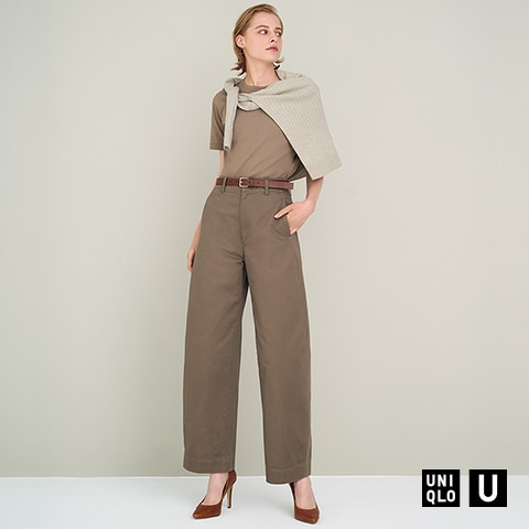 WIDE-FIT CURVED PANTS