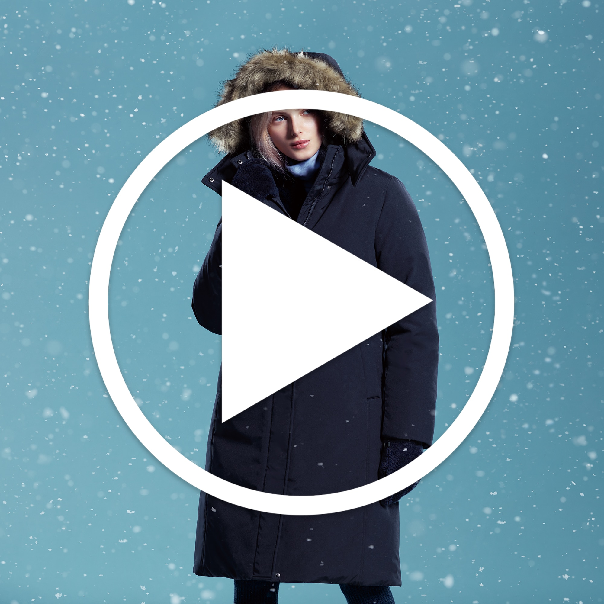 Educational Video: Women Hybrid Down Ultra Warm Short Coat, Navy, Small
