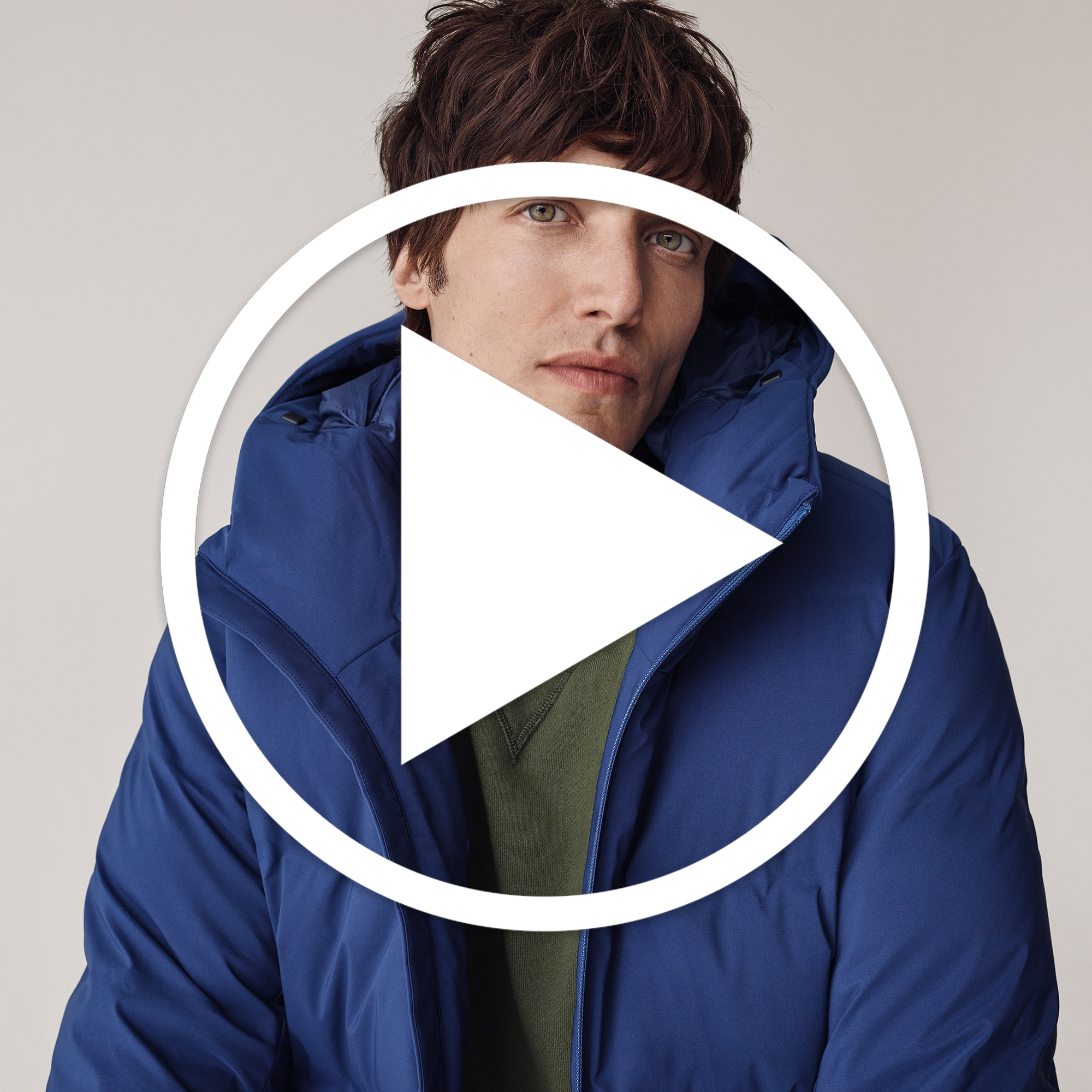 Educational Video: Men Seamless Down Parka, Blue, Small