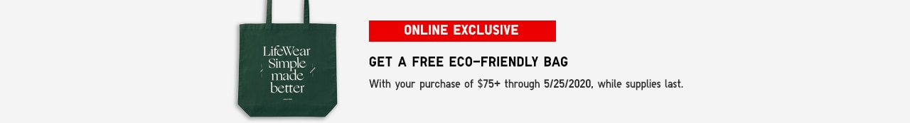 Eco bag gift with purchase of $75 or more