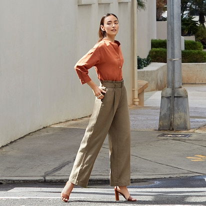 Belted Linen Rayon Wide Pants