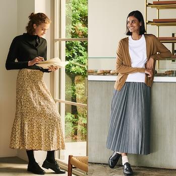 Twist Pleated Long Skirts (Ines de la Fressange)